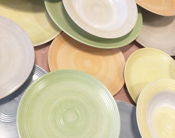 Pastel Melamine Melmac 19 Piece Set. Lovely 50s Dinnerware Camper Solid Pastels 8 Dinner Plates, 8 Lunch Plates And 3 Bowls Multi Color Set