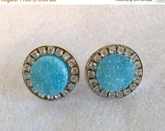 SUMMER Sale Light blue druzy and austrian crystal sterling silver earrings