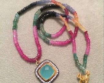 SUMMER Sale Gorgeous multi sapphire bead necklace with aqua green quartz charm