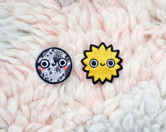 Iron On Patches - Mini Moon & Happy Sun Pair Embroidered Patches - Iron-On - Sew On Patches