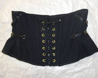 "Black Canvas Corset XS 23"" for a 24-26"" waist  -  gold eyelets and strap accents (Artifice photoshoot sample)"