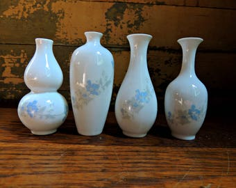 Porcelain Bud Vases - Set of Four / Set of Bud Vases / Vintage Vases / Small Porcelain Vases / Floral Vase