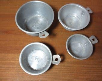 4 Vintage Aluminum Measuring Cups, Baking, Kitchen Utensil,  Rustic, Primitive Home Decor, Photography Prop, See Description