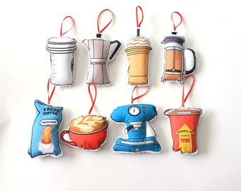 Coffee ornaments: Christmas ornaments- set of 8- Coffee lovers