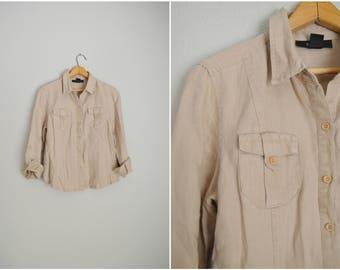 vintage 90s tan linen petite blouse top -- womens medium petite