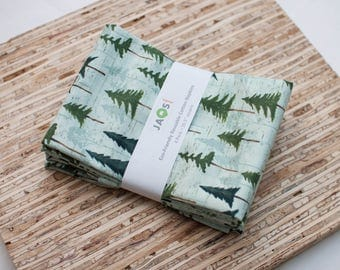 Large Cloth Napkins - Set of 4 - (N5894) - Forest Tree Napkins Modern Reusable Fabric Napkins