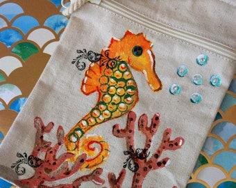 Purse-Handpainted Seahorse Mini Shoulder Strap Purse