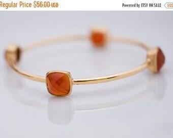 40 OFF - Bangle - Orange Carnelian Bracelet - July Birthstone - Gemstone Bangles - Bezel Set Bangles - Gold Bracelets