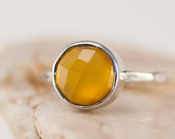 40 OFF - Yellow Chalcedony Ring Silver - Yellow Stone Ring - Stacking Ring - Sterling Silver Ring - Round Ring