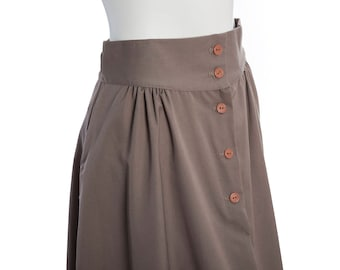 Vintage brown tie waist skirt -- vintage button front skirt -- vintage A-line midi skirt -- size small