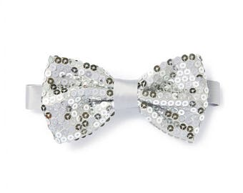 Men's Sequin Bow Tie - Silver