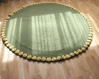 Crocheted floor rug green