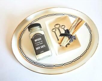 Bath Salt Palo Santo Wood Gift Set   Natural Incense and Trinket Tray   Bath Gift Set    Smudge Kit   Boyfriend Gift   Gift For Him