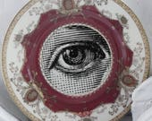 """Eye Plate - Red and Gold  Customized Vintage Salad Plate, Meito Diplomat, 7.5"""", Seeing Eye Plate, Upcycled Plate, Eye Dish, CUSTOMIZABLE"""
