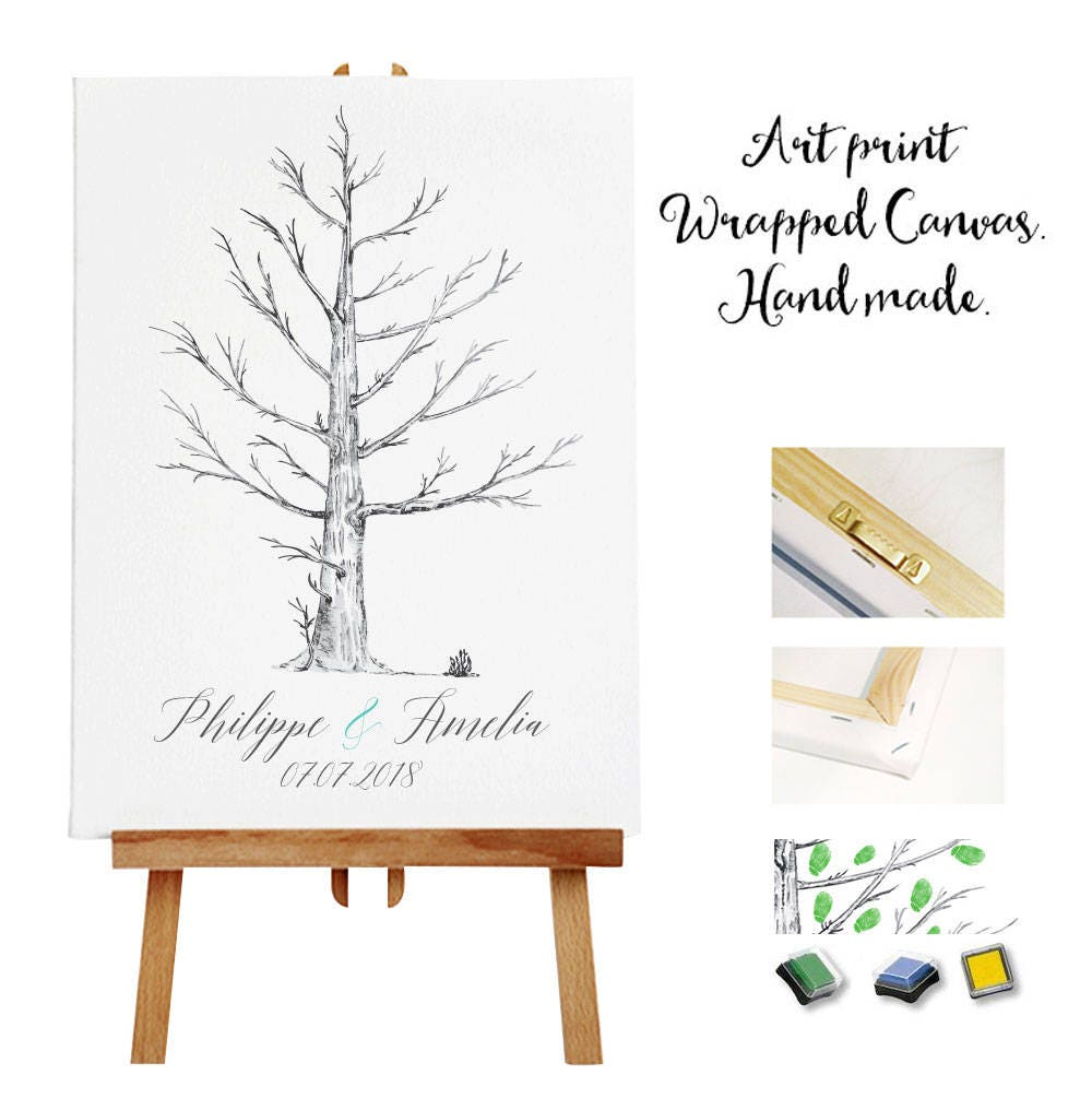 Art Print Wrapped Canvas 3 Ink Pads Wedding Tree Guest Book