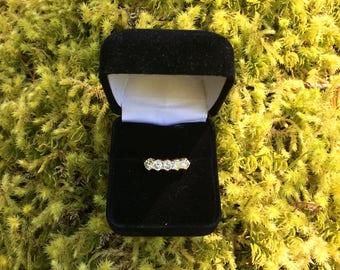 Five Diamond Ring 14K Yellow Gold, Five Quarter Carat Diamonds, Anniversary Ring, Diamond Wedding Ring, Diamond Engagement Ring
