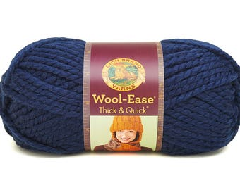 DeStash Yarn - Lion Brand Wool Ease Thick & Quick, Super Bulky Wool Blend Yarn, Navy Blue