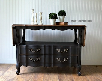 French Provincial Black Buffet Server ~ Drop Leaf ~ Thomasville ~ Solid Walnut ~ Console Table ~ SHIPPING isn't INCLUDED
