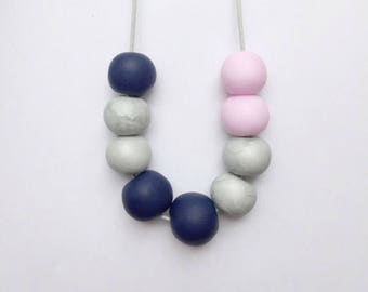 Clay bead necklace, pink necklace, statement necklace, pink clay necklace, adjustable necklace, navy blue necklace, quirky necklace