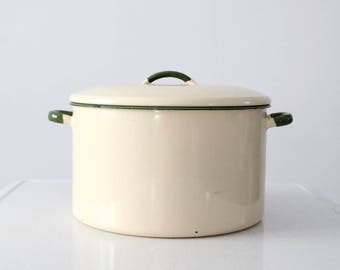vintage enamel stock pot, enamelware pot