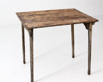 antique folding table, rustic wooden collapsible table
