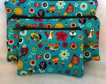 Tribal//Birds Large Cosmetic Bag //Pencil case//Coin Pouch//Three separate items//Gift set