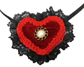 Heart Eye Patch Lacy Red Black Gothic Victorian Steampunk Fantasy Pirate Fashion