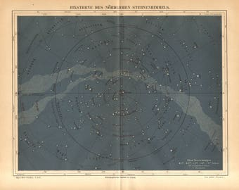 1890 Star Chart, Constellations, Fixed Stars of the Northern Sky Original Antique Map