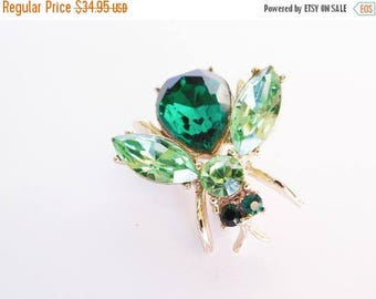 SALE Bee Emerald Peridot Green Rhinestone Vintage Wasp Bug