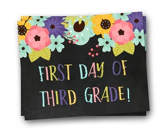 First Day of School Sign, First Day of Third Grade Sign, Back to School Sign