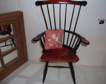 Doll scale solid wood Spindle CHAIR, excellent for Doll or Bear display Perfect condition well constructed American Girl scale