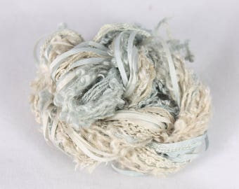 Beige Grey Silk sewing Thread Silk ribbon embroidery Hand Dyed Variegated quilting couching thread weaving supply fibre art embellishment