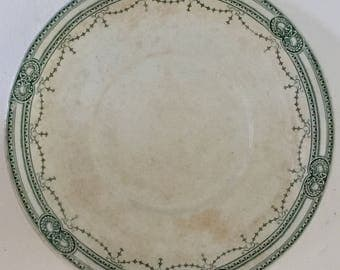 Lovely Old French Platter with Moss Green Trellis and Wonderful Patina Late 1800s