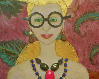 Iris Apfel Fashion Icon. Fashion Quinn. Original Abstract Woman Portrait Mixed Media Interior  Decor. Figurative Painting.  Modern Art Gift