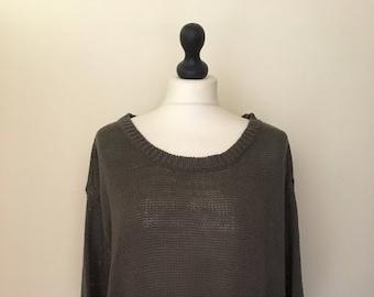 vintage khaki oversized casual jumper WOMENS 12-14