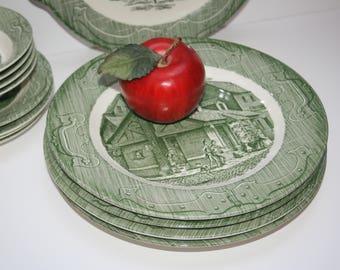 "Four 4 Vintage ""The Old Curiosity Shop"" Green Transferware Dinner Plates Royal China Sebring Ohio Village Shoppe Scene"