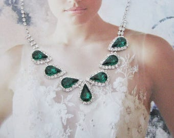 Deep Emerald Green 2 piece set Wedding Necklace Bridal Necklace - Bridal Jewelry - Wedding Necklace - bridal set- Backdrop Bridal Necklace