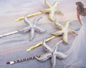 Starfish hair pins Choice of Color Wedding Jewelry Wedding Hair Comb Crystal Rhinestone Hair Comb  Bridal Jewelry Pageant Jewelry