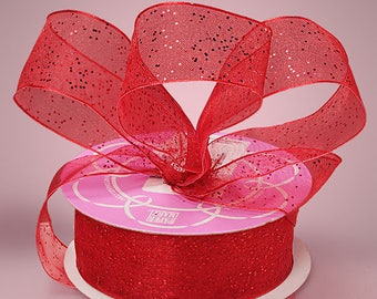 """5 yds GEMSTONE DUST SHEER  Ribbon, 1.5"""" wide   Red  Scrapbooking, Hair Bows, Spring Events Party Supplies, Weddings"""