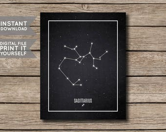 INSTANT DOWNLOAD-Sagittarius Constellation Print / Printable Zodiac / Horoscope Constellation Print / Poster/ Chalkboard Style-Digital File