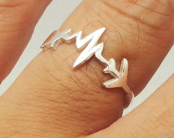 Silver Heartbeat Airplane Ring - Airplane Travel Jewelry, Traveler Gift, United States Map, Long Distance Relationship Gift, Moving Away