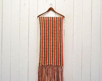 34% Off Sale - Crochet Fringe Scarf 1970s Knit Hippie Boho Large Vintage Striped Multicolored Wrap