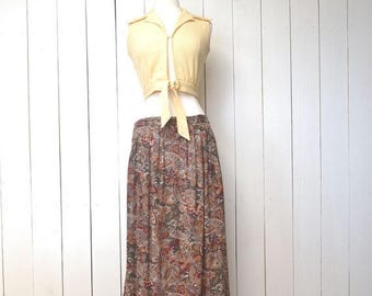 34% Off Sale - 90s Maxi Skirt Paisley Print Vintage Boho Hippie Pocket Dark Beige Pocket Skirt Medium Large