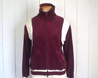 34% Off Sale - Velour Track Jacket - 1970s Zip Up Jacket - Vintage Burgundy Red White Striped Jacket - Extra Small XS / Small S