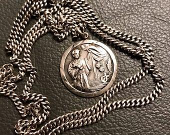 """Saints Genesius Vintage Sterling Silver Medal on original 25"""" Sterling Chain"""