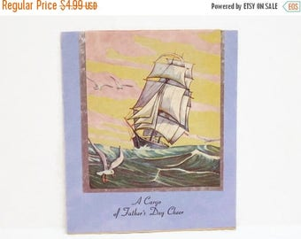 40% OFF NOW VTG Sailing Ship Fathers Day Card, Unused Vintage Greeting Card, Collectible Paper Ephemera, Tall Ship Father's Day Card, Light