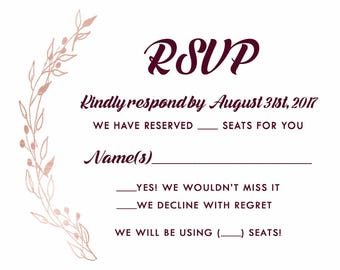 Burgundy and Gold Wedding Invitation RSVP | Laurel Wreath Stationery | Fall Wedding Invitations | Custom Listing for chandalcox