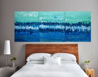 """READY TO SHIP: 20x48 Multi Panel Original Art-Large Abstract Beach Sea Scene, Waves and Surf, Ocean """"Sea Glass"""""""