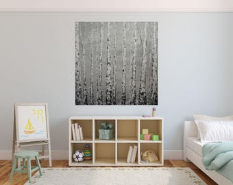 READY TO SHIP: 36x36 Large Room Art Light Grey White Wintery Misty Foggy Bare Aspens by MyImaginationIsYours