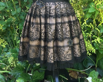Black CHANTILLY  Lace Skirt - Victorian ROMANCE - SiZE SMALL